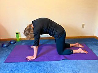 From the Cow pose, relax to the neutral Table pose, then arch your spine upwards for the Cat pose. Move back to neutral and then repeat the Cow and Cat poses until you find more space in your spine.