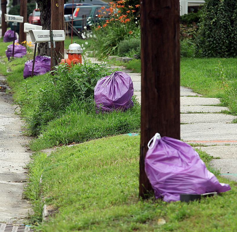 Pay As You Throw bags line N. State St. awaiting pick-up; Wednesday, July 8, 2009. Elaine Kellerman of Concord, the Recyclinator for the Insider, and reporter Shira Schoenberg  sifts through three households' curbside trash find out how much they could have saved by recycling more; Wednesday, July 8, 2009. The three bags weighed a total of 49.5 lb.s but had 11.7 lb.s of recyclables inside.  Alexander Cohn/Monitor Photo Alexander Cohn