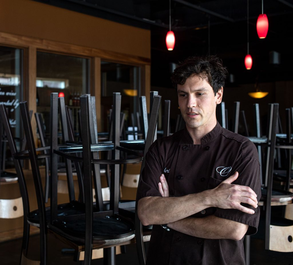 O's Steak and Seafood chef Chris Rosco in the bar area of the restaurant on Wednesday, March 18, 2020. GEOFF FORESTER