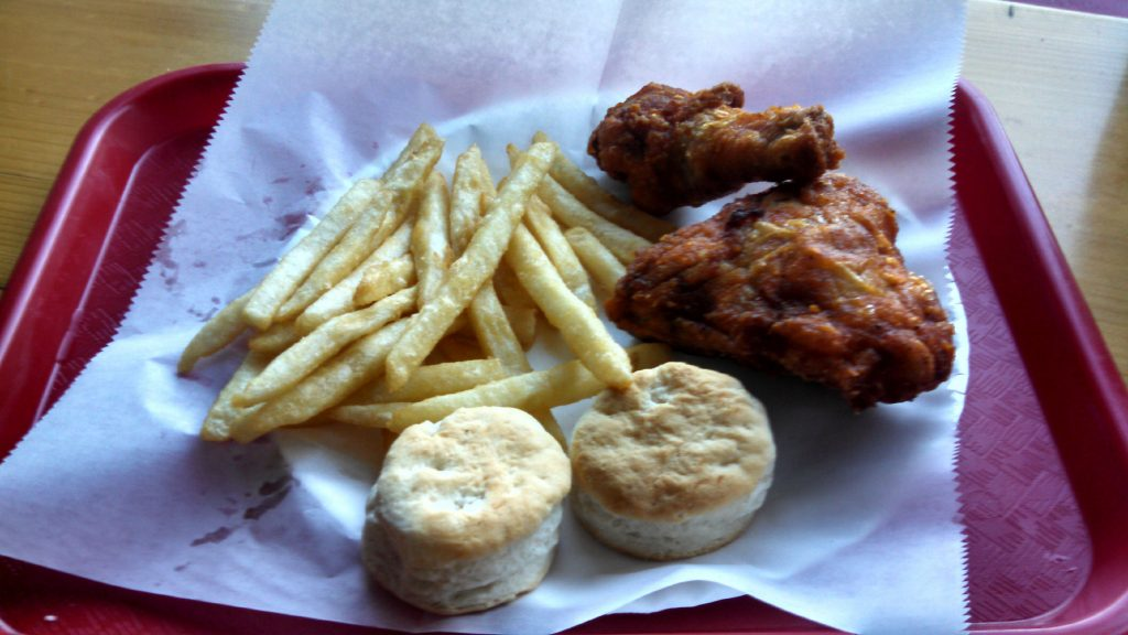 The 2 pc. Chicken Box special from WOW Fried Chicken on Depot Street. You get two pieces of fried chicken, fries or coleslaw and a biscuit (or in this case, two biscuits). THE FOOD SNOB / Insider staff