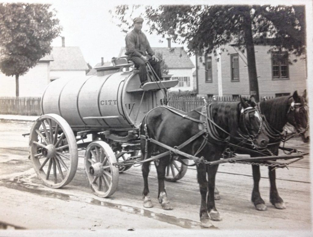 """The """"sprinkler"""" is pictured here in 1900 on Clinton Street."""