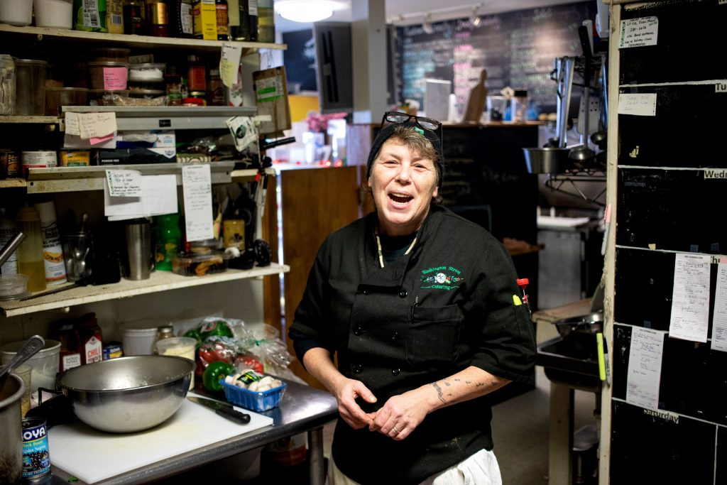 Catering chef Rachel Robie works in the kitchen at the Washington Street Cafe on Tuesday, February 18, 2020. GEOFF FORESTER