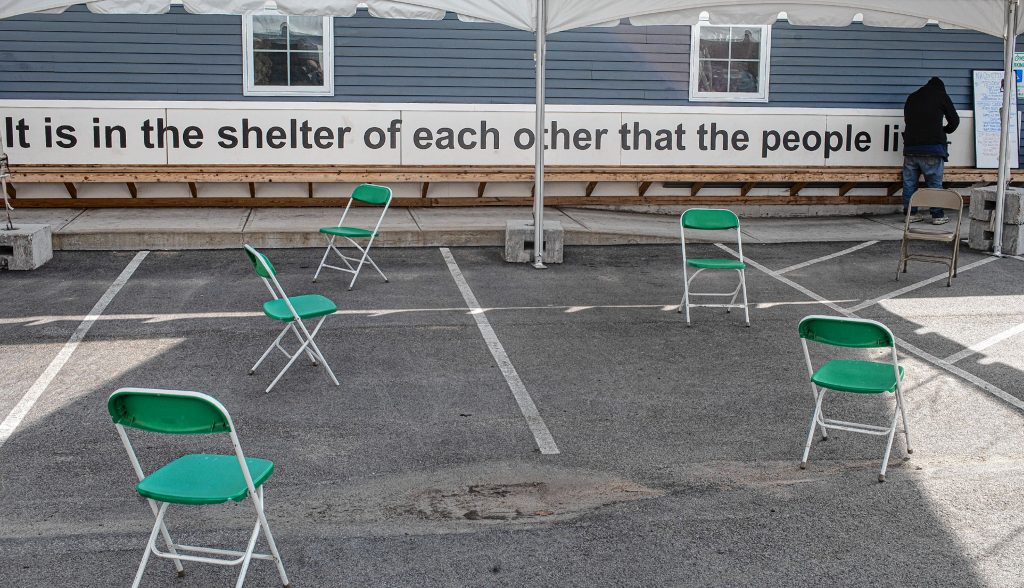 The tent with proper distanting at the shelter on the grounds of the Concord Coalition to End Homelessness on Main Street in Concord on Wednesday, April 15, 2020. GEOFF FORESTER