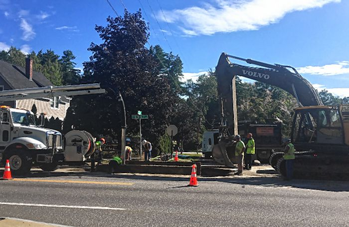 Water main work on Fisherville Road.