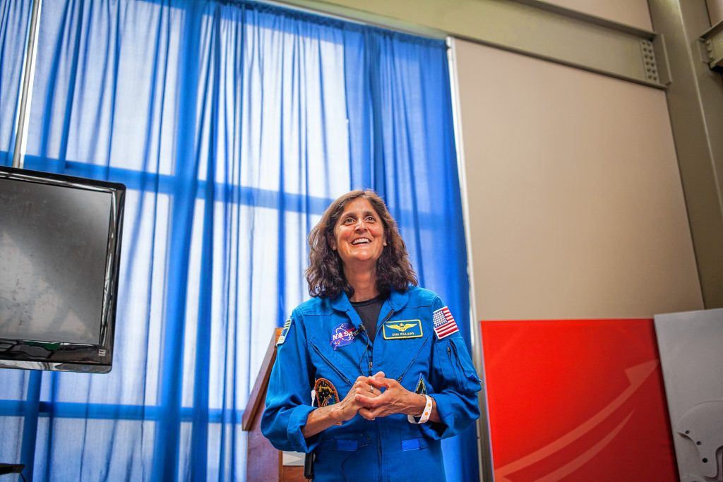Astronaut Sunita Williams talks about her experiences on the International Space Station during AerospaceFest at the McAuliffe-Shepard Discovery Center in Concord on Saturday, May 7, 2016. (ELIZABETH FRANTZ / Monitor staff) ELIZABETH FRANTZ