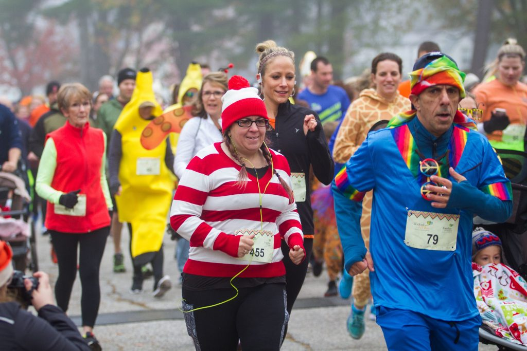 Runners leave the starting line of the Wicked FIT 5K race at Rollins Park in Concord on Saturday, Oct. 28, 2017. (ELIZABETH FRANTZ / Monitor staff) Elizabeth Frantz