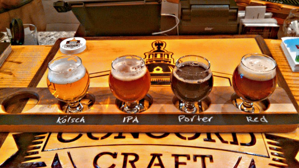 Here's a full flight of Concord Craft Brewing Co.'s offerings: kolsch, IPA, porter and red -- and they're all excellent. (JON BODELL / Insider staff)