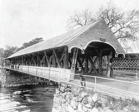 The covered bridge in Hopkinton, which spans the Contoocook River, pictured in 1933.