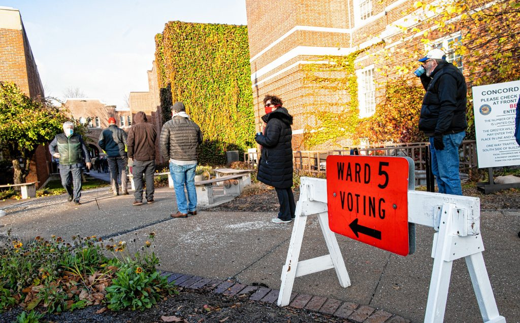 The voting line stretched out to Green Street from the entrance of the Ward 5 voting area on Tuesday, November 3, 2020. Geoff Forester