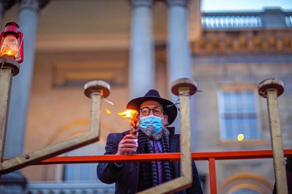 Rabbi Levi Krinsky during the lighting of the 13-foot menorah erected at the State House in Concord at 4:00pm on Thursday, December 10th, the first night of Chanukah.