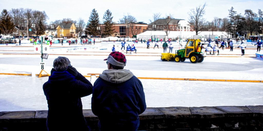 The 10th annual Black Ice Pond Hockey Championships kicked off on Friday, January 24, 2020 at White Park in Concord. Geoff Forester