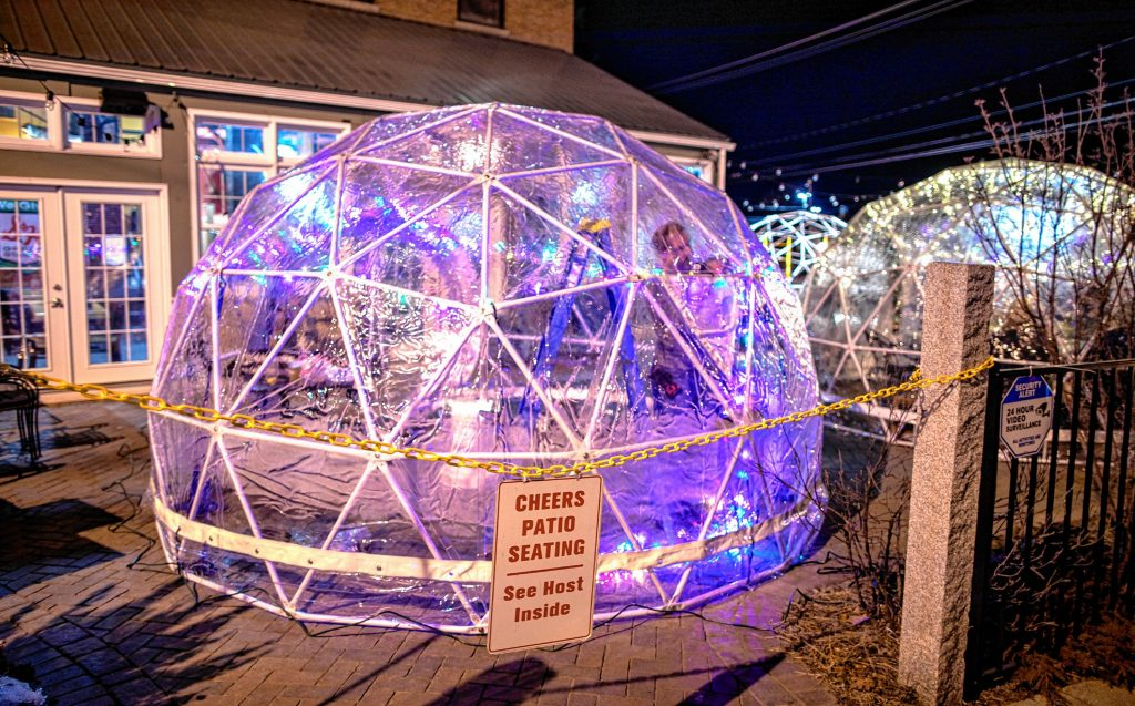 Cheers owner Todd Roy puts up lights into one of the four igloos he and his wife and co-owner, Wendy, are erecting for diners can eat outdoors on the restaurant patio on Monday, January 11, 2020. GEOFF FORESTER