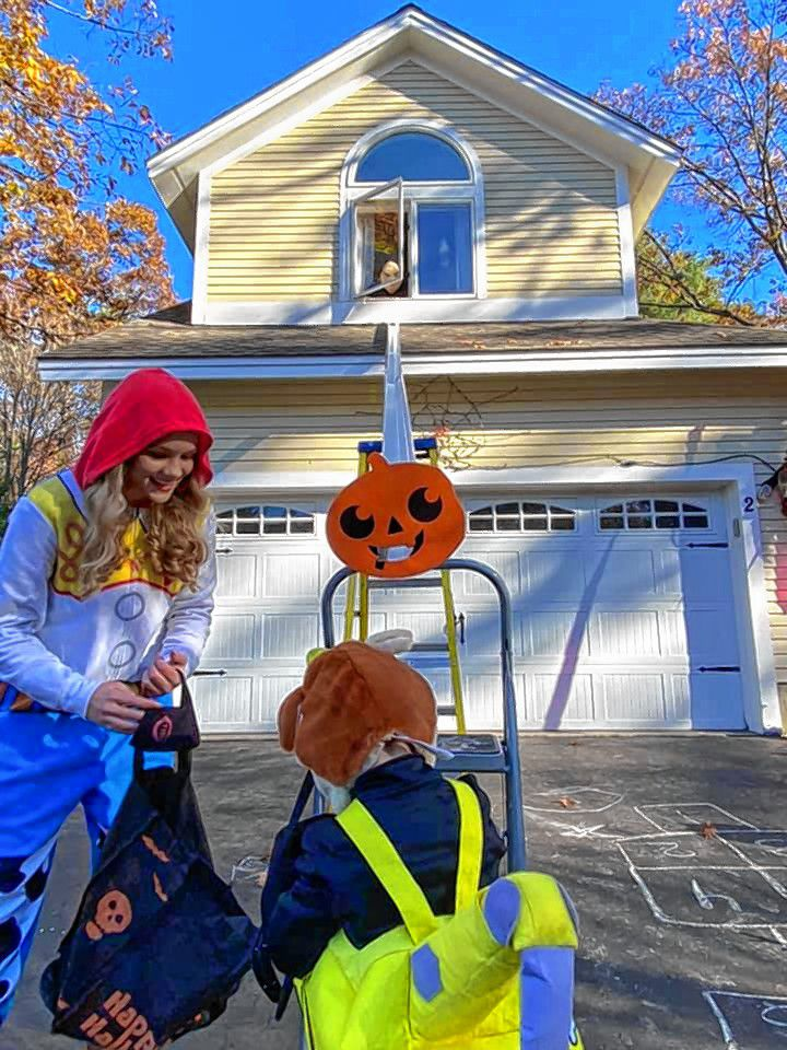 Residents of Governor's Way in Concord got creative to deliver Halloween treats.
