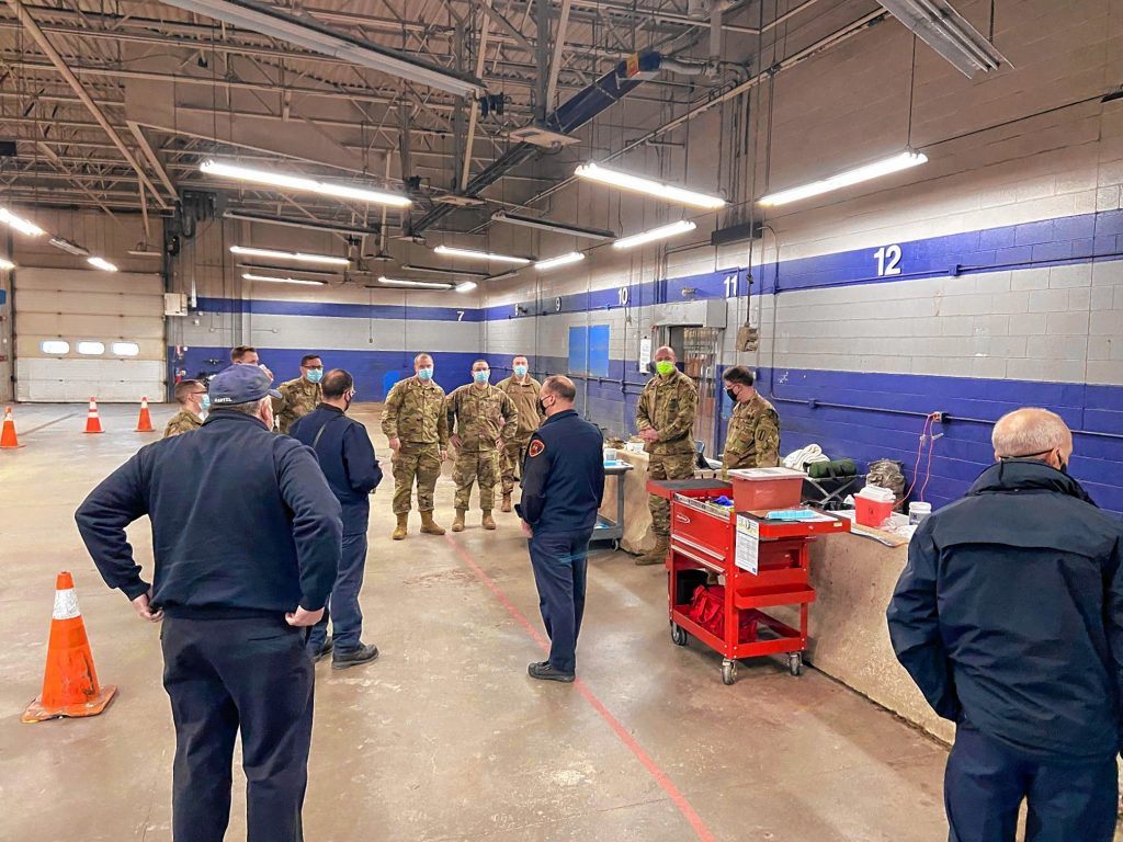 Personnel from Concord Fire Department assisted community partners, members of the New Hampshire National Guard and New Hampshire Air National Guard, on the first day of phase 1B vaccinations earlier this week.