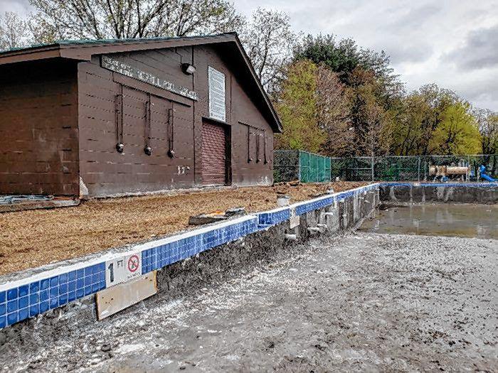 The pool renovation at Merrill Park has resumed.