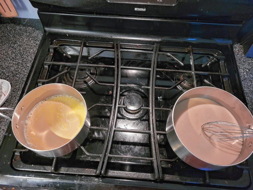 Ice cream bases warmed on the stove Sarah Pearson