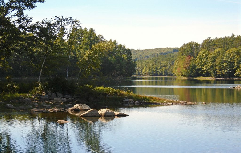 Penacook Lake, the source of Concord's drinking water, is at a much lower level than usual in late September, 2016.