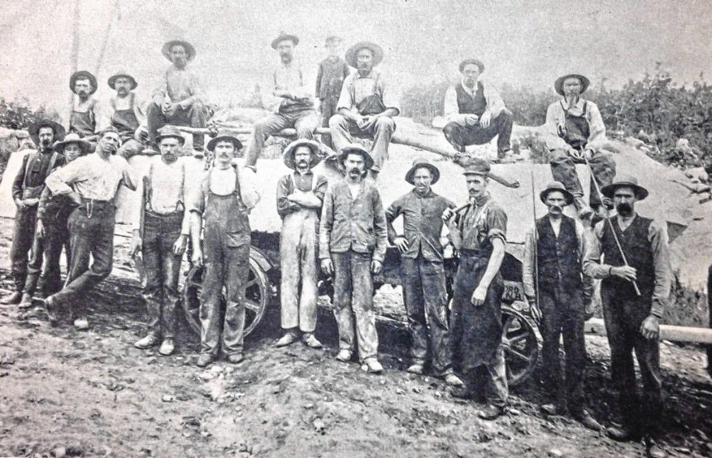 A Rattlesnake Hill Granite Quarry crew is pictured on Rattlesnake Hill in Concord, New Hampshire  during the later nineteenth century