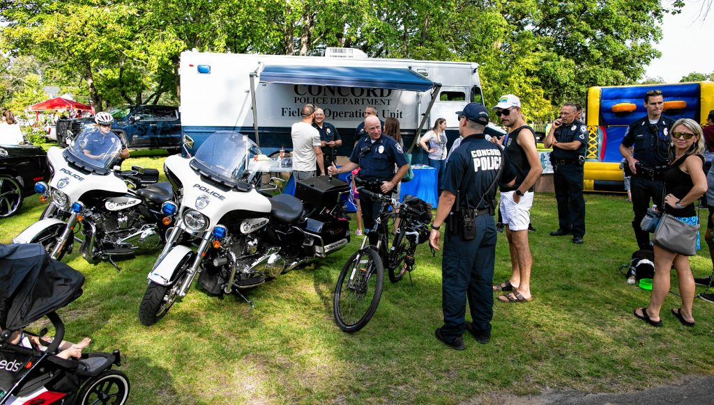 Concord Police show off their equipment to residents at the National Night Out at Rollins Park on Tuesday, August 3, 2021. GEOFF FORESTER