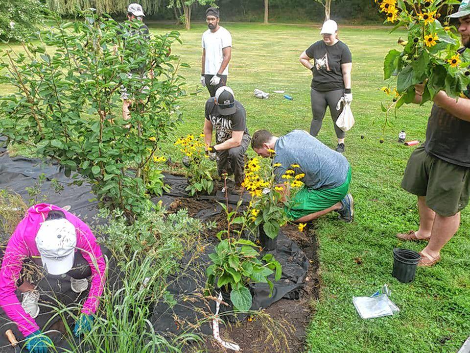 Volunteers work on the new pollinator garden in White Park.